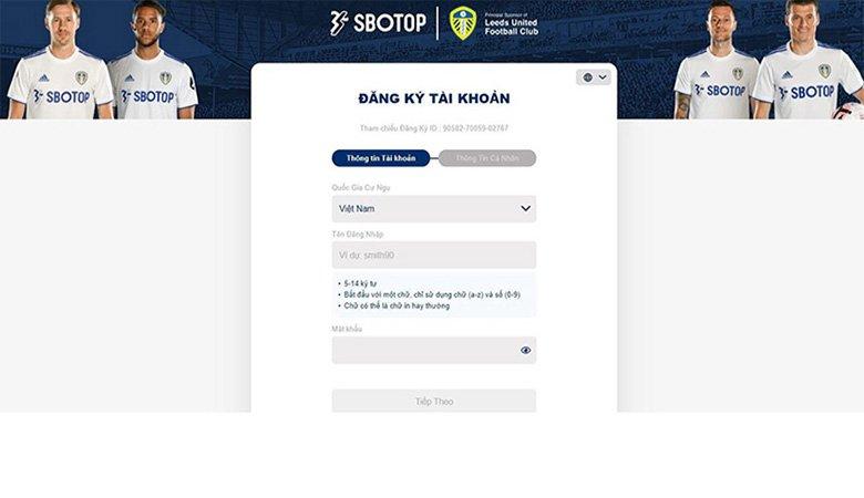 Cách đăng ký tài khoản SBOTOP