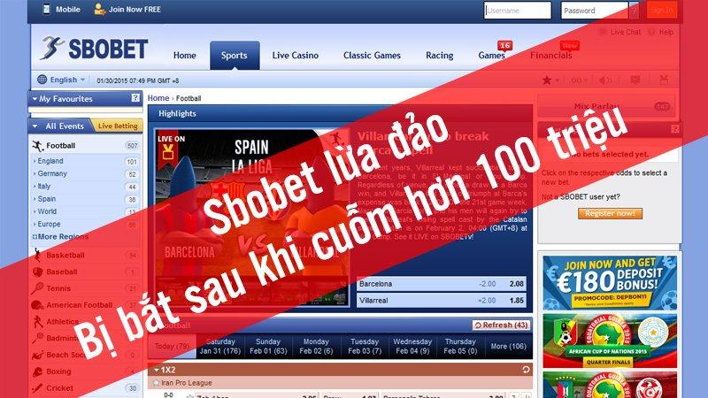 Thông tin người chơi bị Sbobet lấy hơn 100 triệu